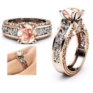 Jewelry - Sale! Round Cut Pink CZ Rose Gold Filled Ring